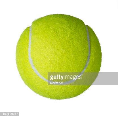 Upper view of a yellow tennis ball