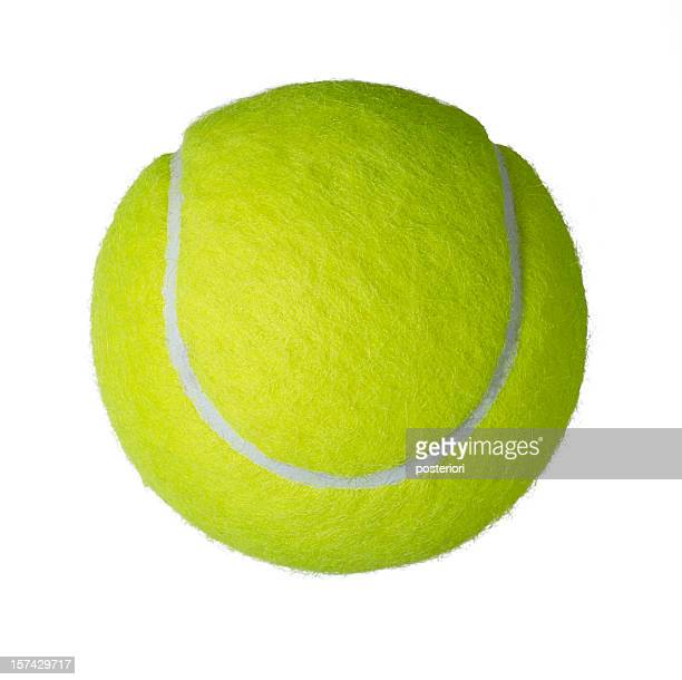 Upper view of a yellow tennis ball