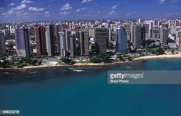 Upperclass apartment buildings overlooking the sea Fortaleza cityscape Ceara State Brazil