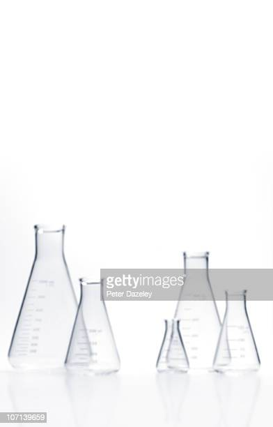 Upright out of focus flasks with copy space