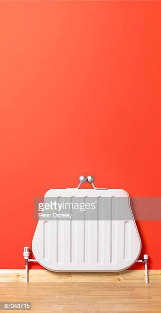 Upright purse shaped radiator.