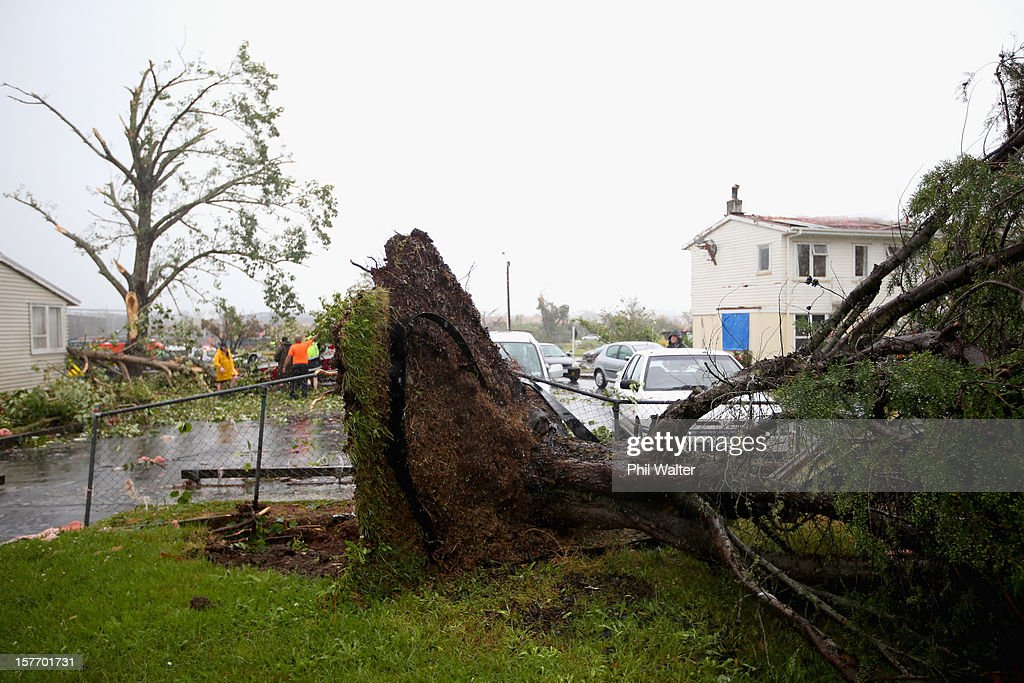 Uprooted trees and storm debri are scattered around the Auckand suburb of Hobsonville in the aftermath of a tornado that struck on December 6, 2012 in Auckland, New Zealand. Three people have been confirmed dead and torrential rain has caused surface flooding across Auckland.