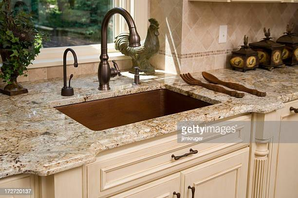 Upscale kitchen sink and countertop.