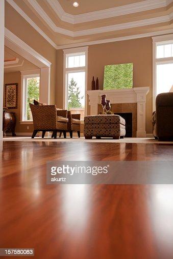 Upscale new formal living room hard wood floors windows furnature