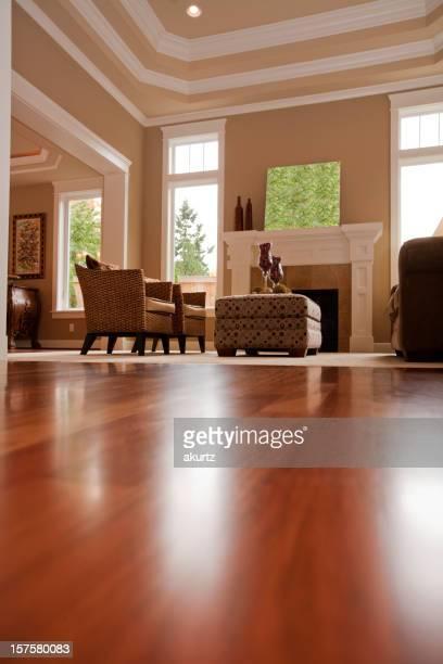 Haut de gamme de la salle de séjour meublée de parquets en bois dur, des fenêtres