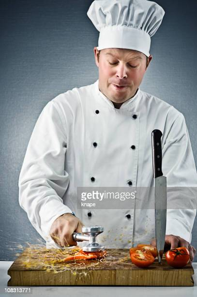 Verärgert Chefkoch überwältigenden Tomaten
