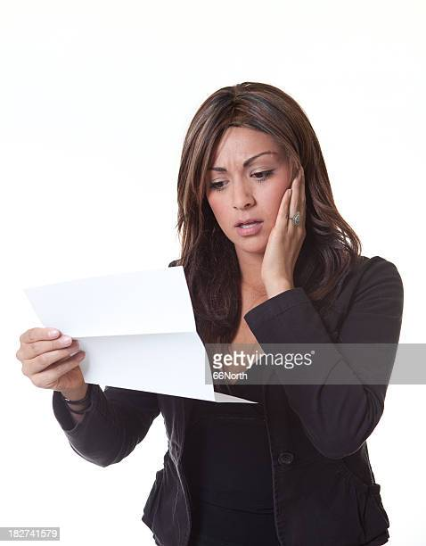 Upset Discusted Bill Woman White Background Paper