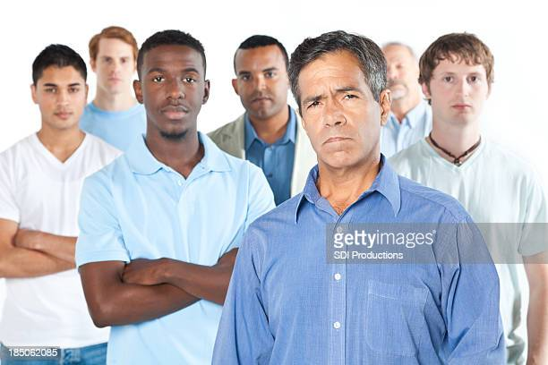 Upset men standing with white background