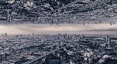 Photo of unreal cities that upside down to each other.