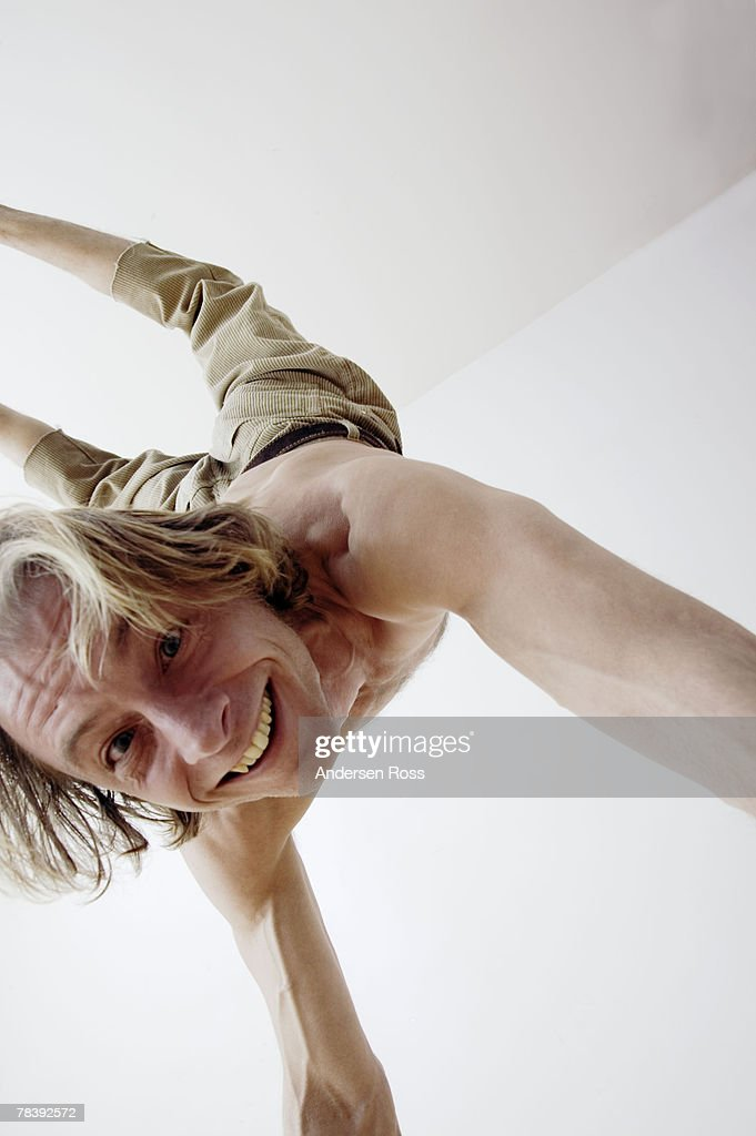 Upside down man : Stock Photo
