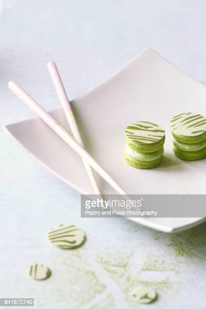 Upside Down Matcha Yuzu Macarons