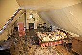 Upstairs bedroom at Mary Washington House, purchased by George Washington for his mother in 1772, Displays items owned by Mrs. Washington, Fredericksburg, VA, U.S.A.