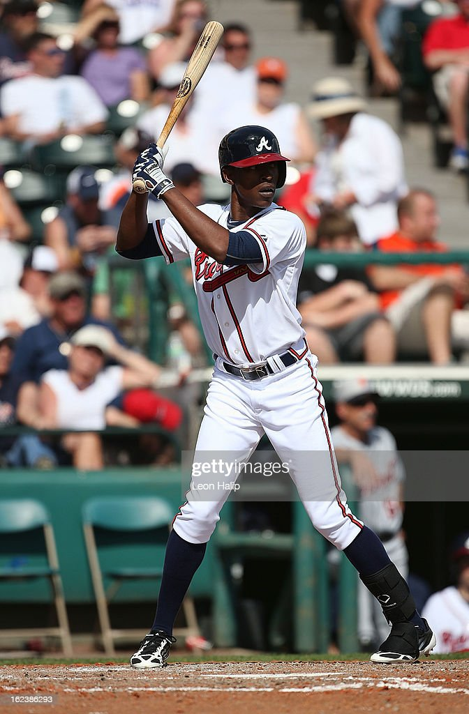 B. J. Upton #2 of the Atlanta Braves bats during the game against the Detroit Tigers on February 22, 2013 in Lake Buena Vista, Florida. The Tigers defeated the Braves 2-1.