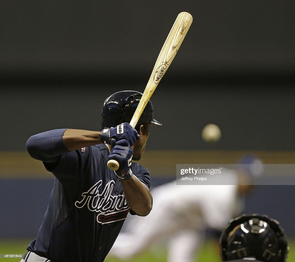 <a gi-track='captionPersonalityLinkClicked' href=/galleries/search?phrase=B.J.+Upton&family=editorial&specificpeople=810704 ng-click='$event.stopPropagation()'>B.J. Upton</a> #2 of the Atlanta Braves bats in the first inning of their game against the Milwaukee Brewers at Miller Park on April 1, 2014 in Milwaukee, Wisconsin.