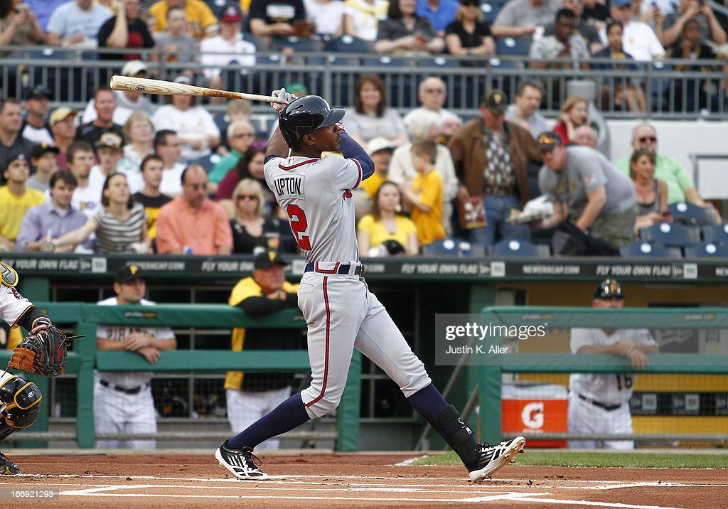 <a gi-track='captionPersonalityLinkClicked' href=/galleries/search?phrase=B.J.+Upton&family=editorial&specificpeople=810704 ng-click='$event.stopPropagation()'>B.J. Upton</a> #2 of the Atlanta Braves hits a lead-off home run in the first inning against the Pittsburgh Pirates during the game on April 18, 2013 at PNC Park in Pittsburgh, Pennsylvania.