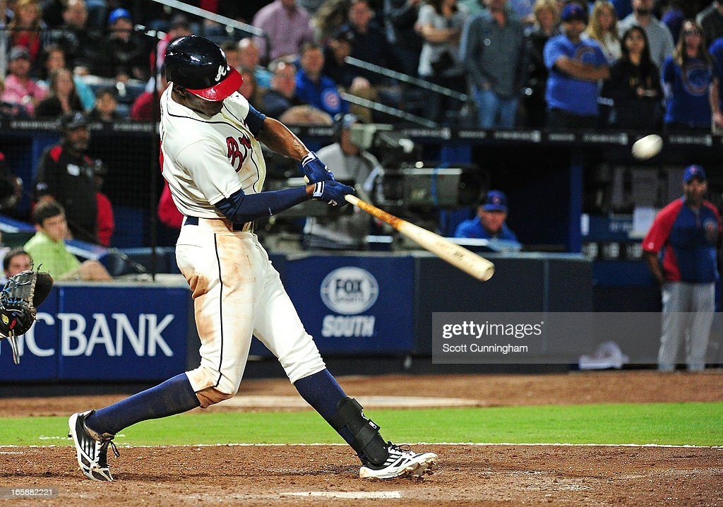 B. J. Upton #2 of the Atlanta Braves leads off the ninth inning with a game-tying home run against the Chicago Cubs at Turner Field on April 6, 2013 in Atlanta, Georgia.