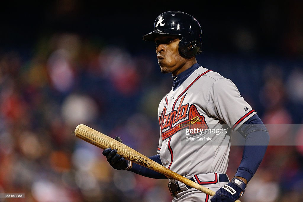 <a gi-track='captionPersonalityLinkClicked' href=/galleries/search?phrase=B.J.+Upton&family=editorial&specificpeople=810704 ng-click='$event.stopPropagation()'>B.J. Upton</a> of the Atlanta Braves looks on after striking out in the seventh inning of the game against the Philadelphia Phillies at Citizens Bank Park on April 16, 2014 in Philadelphia, Pennsylvania. All uniformed team members are wearing jersey number 42 in honor of Jackie Robinson Day. The Braves won 1-0.