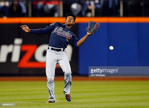 J Upton of the Atlanta Braves misses a ball hit by Curtis Granderson of the New York Mets in the sixth inning at Citi Field on April 19 2014 in the...