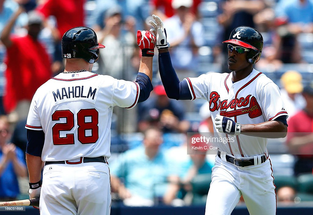 <a gi-track='captionPersonalityLinkClicked' href=/galleries/search?phrase=B.J.+Upton&family=editorial&specificpeople=810704 ng-click='$event.stopPropagation()'>B.J. Upton</a> #2 of the Atlanta Braves reacts after a solo homer in the fourth inning against the Minnesota Twins with <a gi-track='captionPersonalityLinkClicked' href=/galleries/search?phrase=Paul+Maholm&family=editorial&specificpeople=585406 ng-click='$event.stopPropagation()'>Paul Maholm</a> #28 at Turner Field on May 22, 2013 in Atlanta, Georgia.