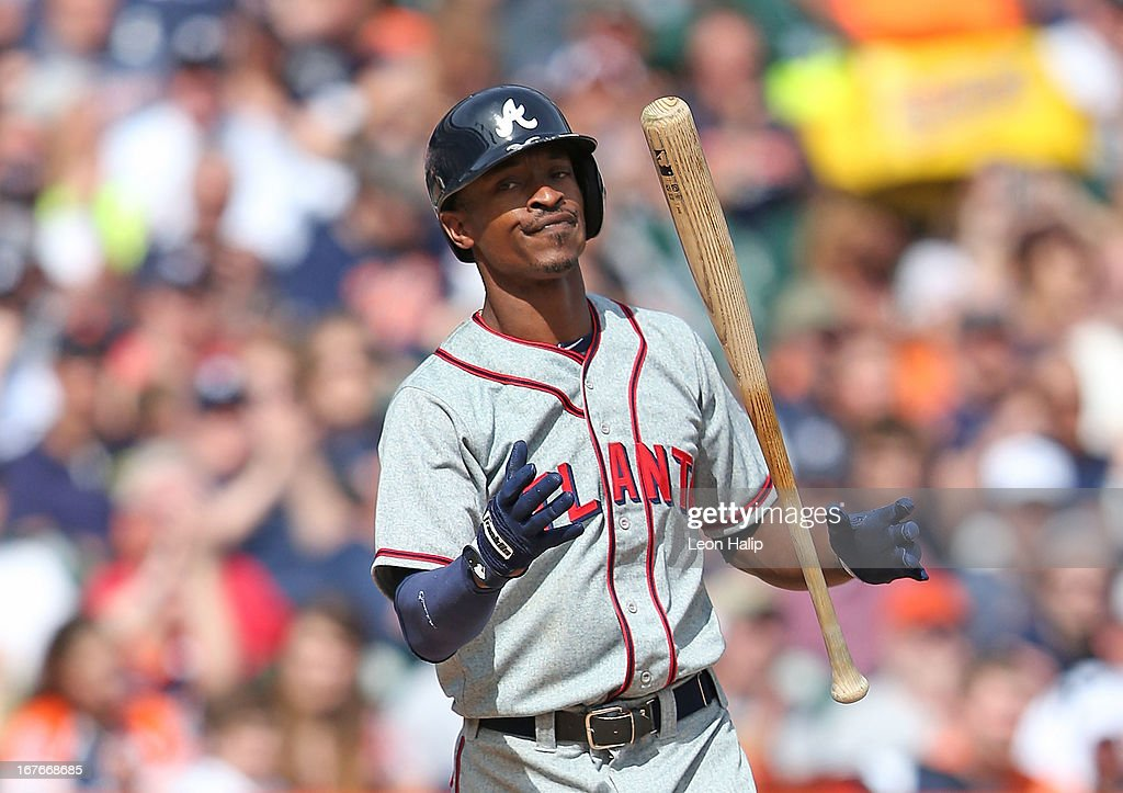 B. J. Upton #8 of the Atlanta Braves reacts after striking out in the ninth inning of the game against the Detroit Tigers at Comerica Park on April 27, 2013 in Detroit, Michigan. The Tigers defeated the Braves 7-4.