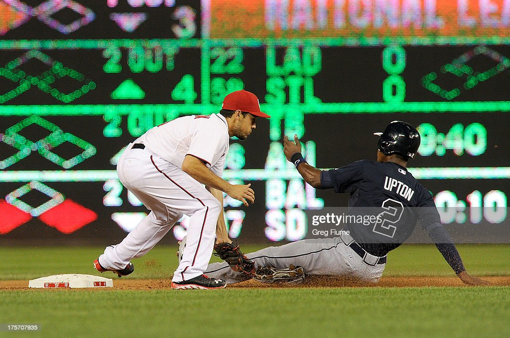 <a gi-track='captionPersonalityLinkClicked' href=/galleries/search?phrase=B.J.+Upton&family=editorial&specificpeople=810704 ng-click='$event.stopPropagation()'>B.J. Upton</a> #2 of the Atlanta Braves steals second base in the fifth inning ahead of the tag of <a gi-track='captionPersonalityLinkClicked' href=/galleries/search?phrase=Anthony+Rendon&family=editorial&specificpeople=7539238 ng-click='$event.stopPropagation()'>Anthony Rendon</a> #6 of the Washington Nationals at Nationals Park on August 6, 2013 in Washington, DC.