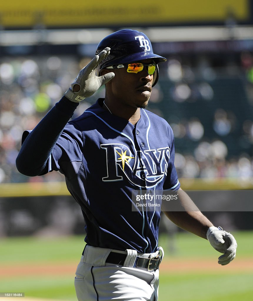 <a gi-track='captionPersonalityLinkClicked' href=/galleries/search?phrase=B.J.+Upton&family=editorial&specificpeople=810704 ng-click='$event.stopPropagation()'>B.J. Upton</a> #2 of the Tampa Bay Rays after hitting a two-run homer against the Chicago White Sox in the first inning on September 30, 2012 at U.S. Cellular Field in Chicago, Illinois.