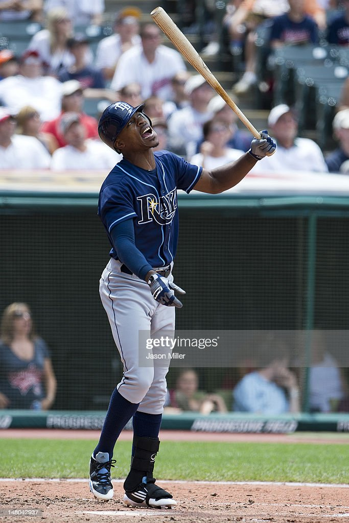 <a gi-track='captionPersonalityLinkClicked' href=/galleries/search?phrase=B.J.+Upton&family=editorial&specificpeople=810704 ng-click='$event.stopPropagation()'>B.J. Upton</a> #2 of the Tampa Bay Rays reacts to hitting a pop fly to right for an out during the sixth inning against the Cleveland Indians at Progressive Field on July 8, 2012 in Cleveland, Ohio.