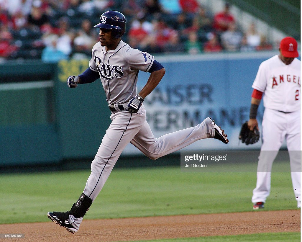 <a gi-track='captionPersonalityLinkClicked' href=/galleries/search?phrase=B.J.+Upton&family=editorial&specificpeople=810704 ng-click='$event.stopPropagation()'>B.J. Upton</a> #2 of the Tampa Bay Rays rounds the bases after hitting a solo home run to left field against the Los Angeles Angels of Anaheim in the first inning at Angel Stadium of Anaheim on August 17, 2012 in Anaheim, California.
