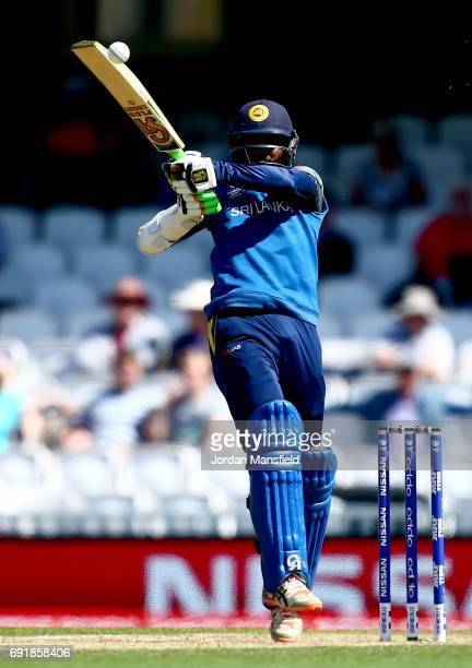 Upul Tharanga of Sri Lanka bats during the ICC Champions Trophy match between Sri Lanka and South Africa at The Kia Oval on June 3 2017 in London...