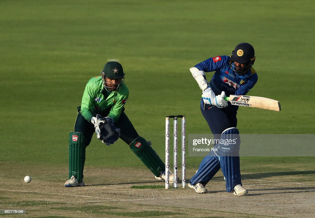 Upul Tharanga of Sri Lanka bats during the third One Day International match between Pakistan and Sri Lanka at Zayed Cricket Stadium on October 18, 2017 in Abu Dhabi, United Arab Emirates.
