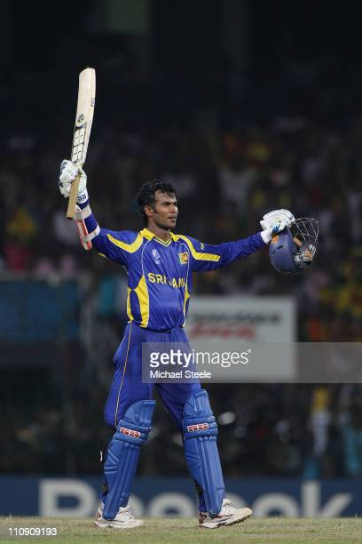 Upul Tharanga of Sri Lanka celebrates scoring the winning runs and reaching his century in his side ten wicket victory during the 2011 ICC World Cup...