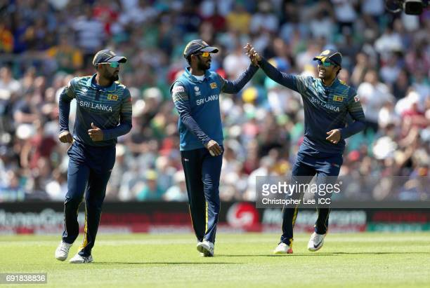 Upul Tharanga of Sri Lanka celebrates taking the wicket of Chris Morris of South Africa during the ICC Champions Trophy Group B match between Sri...