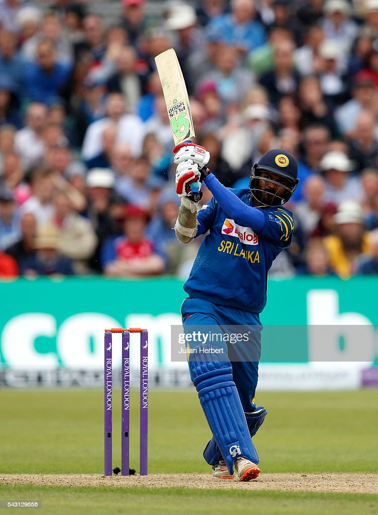 Upul Tharanga of Sri Lanka hits out during The 3rd ODI Royal London One-Day match between England and Sri Lanka at The County Ground on June 26, 2016 in Bristol, England.