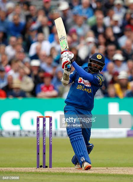 Upul Tharanga of Sri Lanka hits out during The 3rd ODI Royal London OneDay match between England and Sri Lanka at The County Ground on June 26 2016...