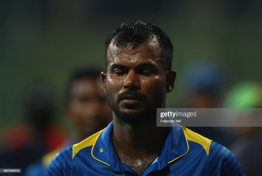 Upul Tharanga of Sri Lanka looks dejected after losing the second One Day International match between Pakistan and Sri Lanka at Zayed Cricket Stadium on October 16, 2017 in Abu Dhabi, United Arab Emirates.