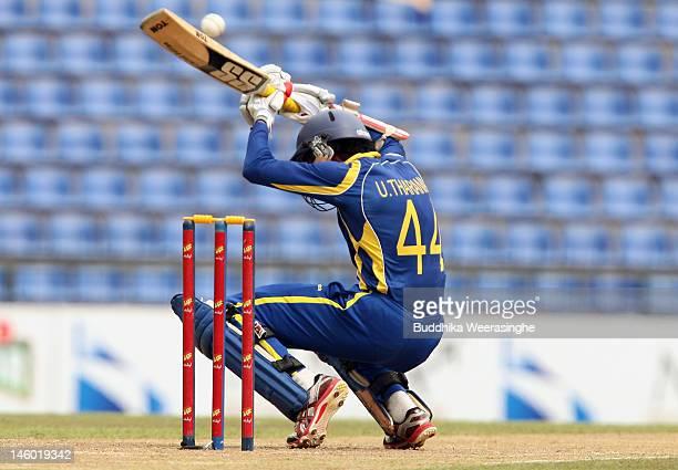 Upul Tharanga of Sri Lanka plays a shot during the second one day international match between Sri Lanka and Pakistan at Pallekele Cricket Stadium on...