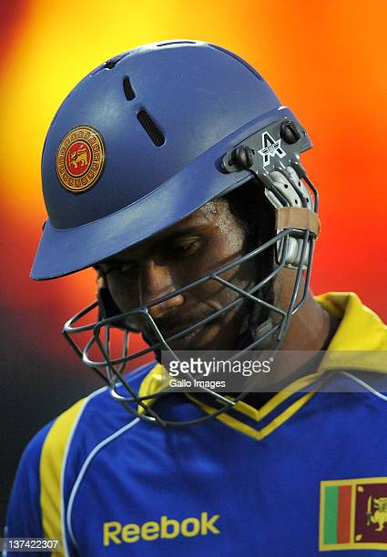 Upul Tharanga of Sri Lanka walks off after being dismissed for 6 runs during the 4th ODI match between South Africa and Sri Lanka at De Beers Diamond...