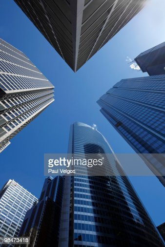Upward View of Downtown Chicago Office Buildings : Foto de stock