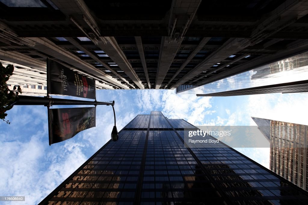 Upward view of Willis Tower, in Chicago, Illinois on JULY