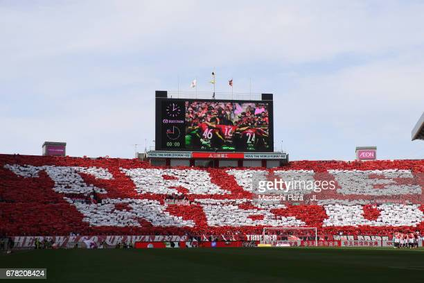 Urawa Red Diamonds fans show their support prior to the JLeague J1 match between Urawa Red Diamonds and Kashima Antlers at Saitama Stadium on May 4...