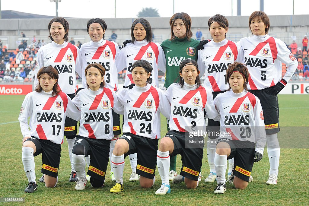 Urawa Red Diamonds Ladies players pose for a team photograph prior to the 34th Empress's Cup All Japan Women's Football Tournament semi final match between INAC Kobe Leonessa and Urawa Red Diamonds Ladies at Nack 5 Stadium Omiya on December 22, 2012 in Saitama, Japan.