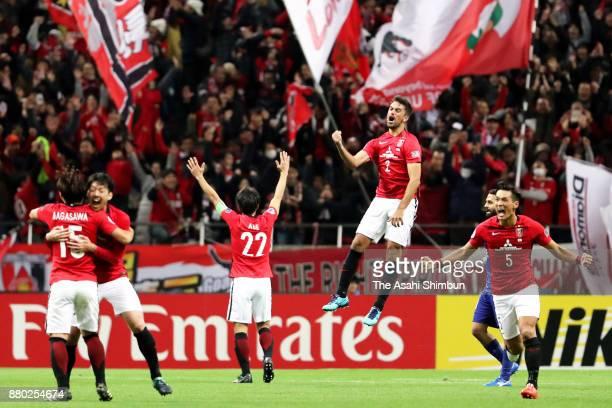 Urawa Red Diamonds players celebrate after winning the AFC Champions League Final second leg match between Urawa Red Diamonds and AlHilal at Saitama...