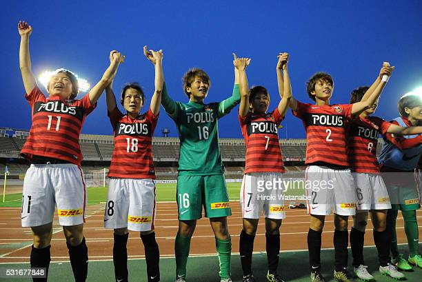 Urawa Red Diamonds players celebrate their 10 win in the Nadeshiko League match between Urawa Red Diamonds Ladies and JEF United Chiba Ladies at the...
