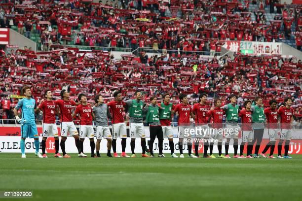 Urawa Red Diamonds players celebrate their 32 victory after the JLeague J1 match between Urawa Red Diamonds and Consadole Sapporo at Saitama Stadium...