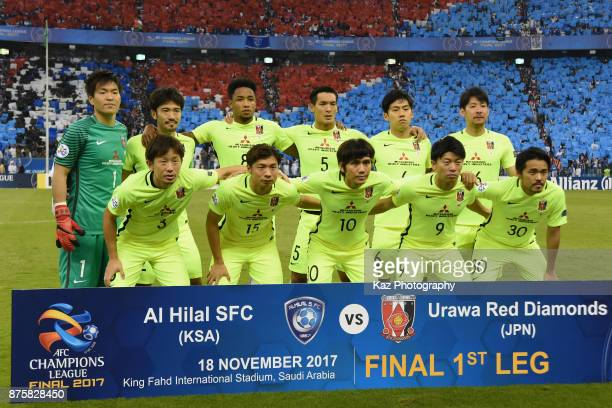 Urawa Red Diamonds players line up for the team photos prior to the AFC Champions League Final 2017 first leg between AlHilal and Urawa Red Diamonds...