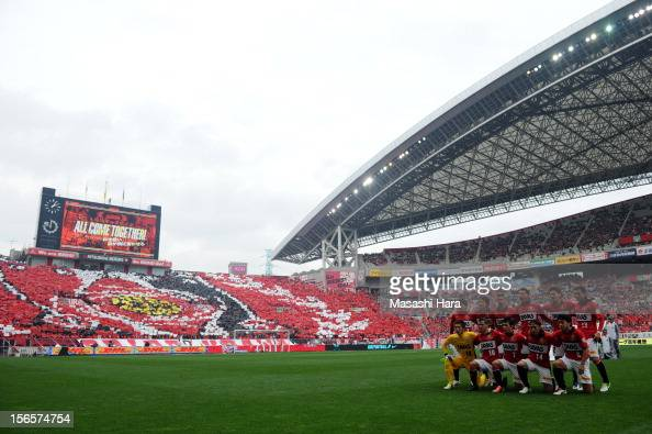 Urawa Red Diamonds players pose for photograph prior to the JLeague match between Urawa Red Diamonds and Sanfrecce Hiroshima at Saitama Stadium on...