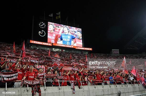 Urawa Red Diamonds supporters celebrate the 10 win after the J League match between Urawa Red Diamonds and Sanfrecce Hiroshima at the Saitama Stadium...