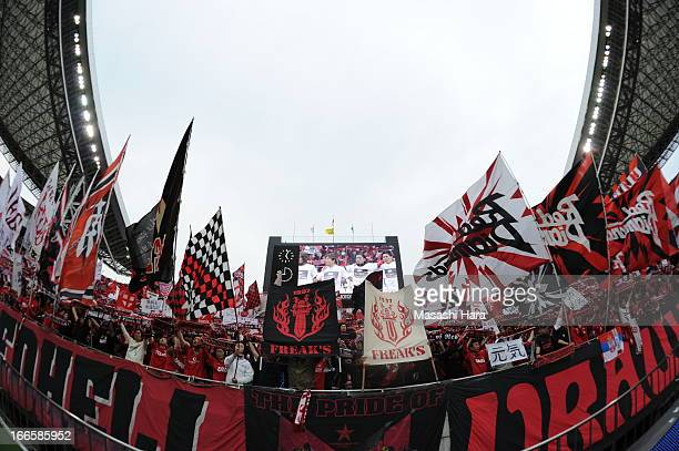 Urawa Red Diamonds supporters celebrates the win after the JLeague match between Yokohama FMarinos and Shonan Bellmare at Saitama Stadium on April 14...