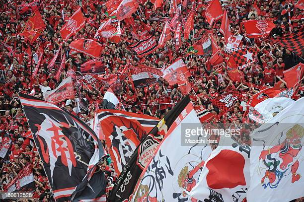 Urawa Red Diamonds supporters cheer during Yamazaki Nabisco Cup final match between Urawa Red Diamonds and Kashiwa Reysol at the National Stadium on...