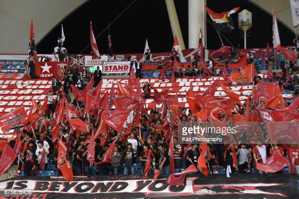 Urawa Red Diamonds supporters cheer prior to the AFC Champions League Final 2017 first leg between AlHilal and Urawa Red Diamonds at King Fahd...